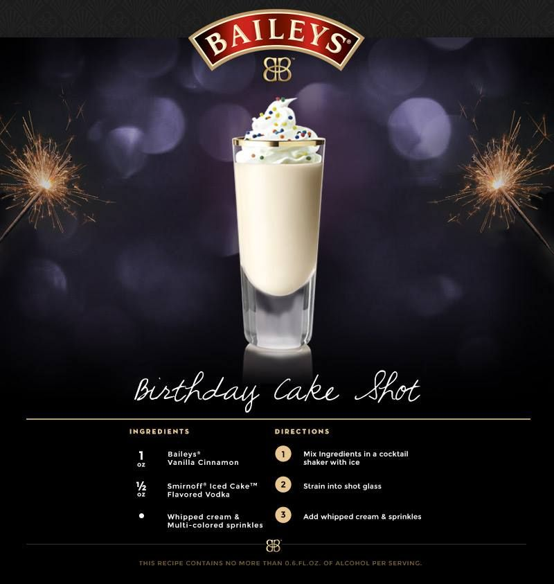 Baileys Birthday Cake Shot Food Drink Pinterest Baileys
