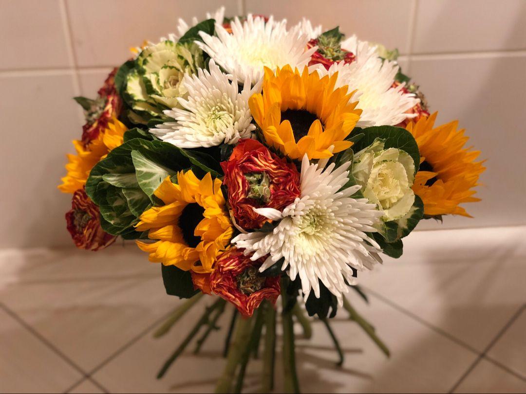 bouquet soleil, rose, chrysanthème et choux | bouquets | bouquet