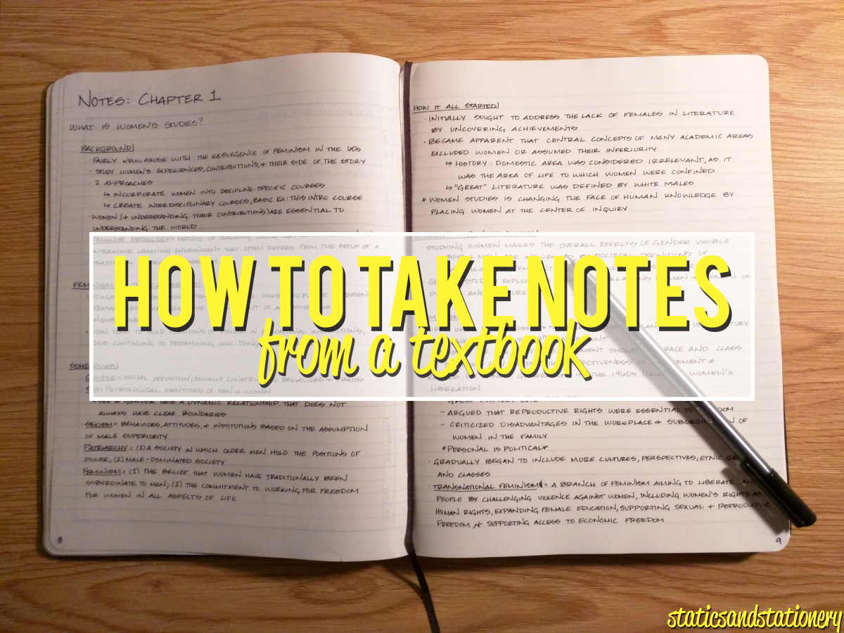 How To Take Notes From A Textbook