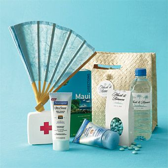 Brides Destination Wedding Welcome Basket Ocean Blue Hues Hint At The Beachy Contents Of