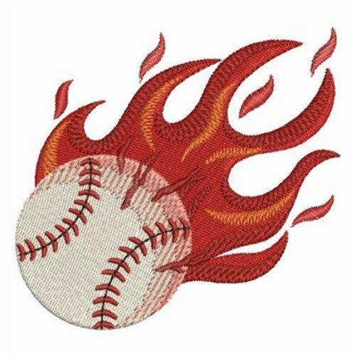Flaming Baseball Embroidery Design Baseball Pinterest
