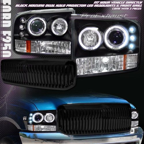 Blk Halo Led Projector Head Lights Vertical Grill Grille 99 Ford F250 Excursion Ebay Ford Excursion New Trucks Led Halos