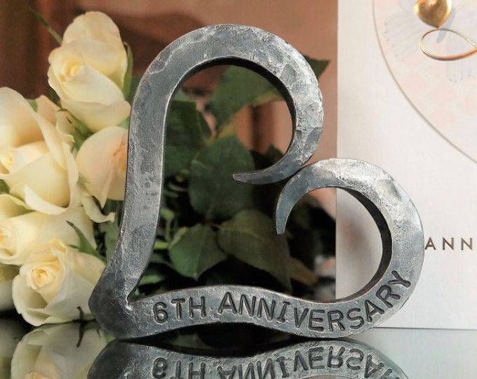 6 Year Wedding Anniversary Gift For Her: Iron Heart Keyring, Hand Forged, Iron Anniversary Gift