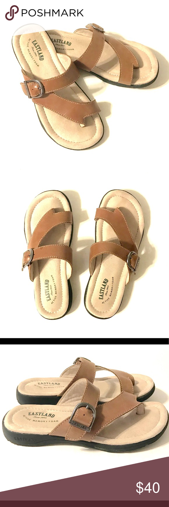 3489cdeef3d4 Eastland TAHITI II • Womens Brown Thong Sandals 7W Eastland TAHITI II •  Womens Brown Thong