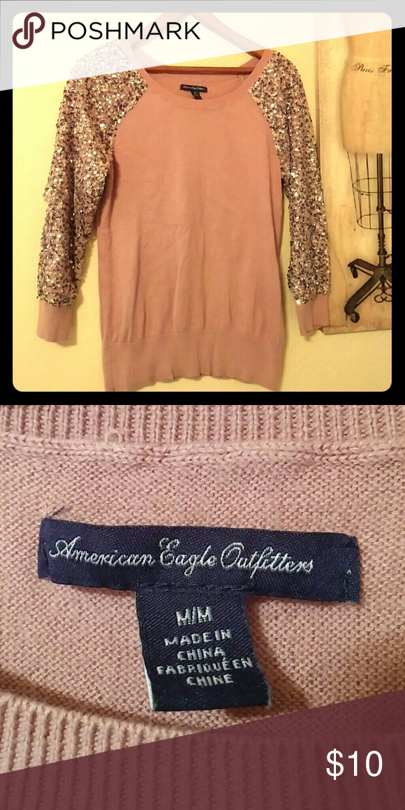 American Eagle Dressy Sweater Dressy sweater with sequence detail on the 3/4 sleeves. This is in great condition. It is a size medium but it fits more like a small. American Eagle Outfitters Sweaters Crew & Scoop Necks