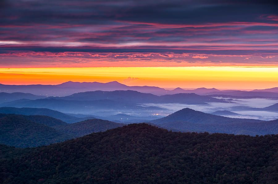 North Carolina Blue Ridge Parkway Nc Autumn Twilight by Dave Allen