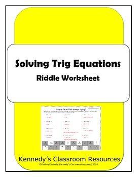 solving trig equations riddle worksheet pinterest equation worksheets and students - Solving Trig Equations Worksheet
