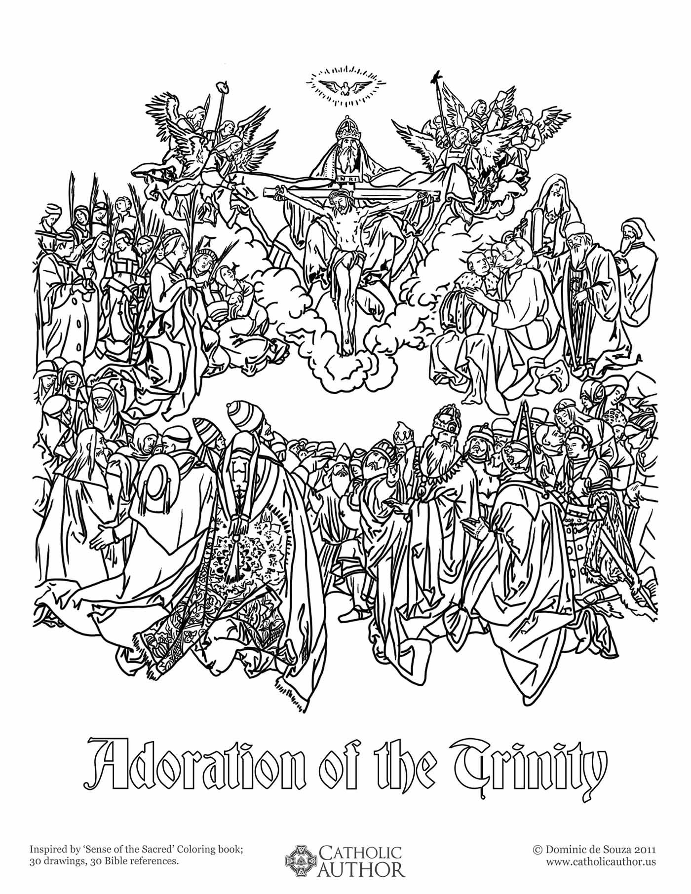 adoration of the trinity free hand drawn catholic coloring