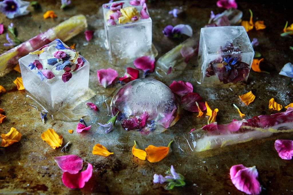 Edible Flower Ice Cubes From Heatherchristo Com Flower Ice Flower Ice Cubes Fancy Ice Cubes
