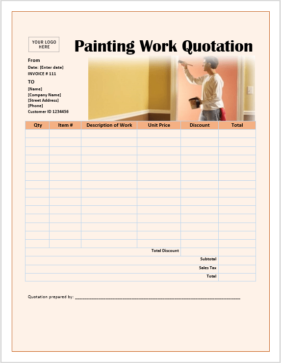 17 Free Painting Work Quotation Templates Ms Office Documents Work Quotes Quotations Templates