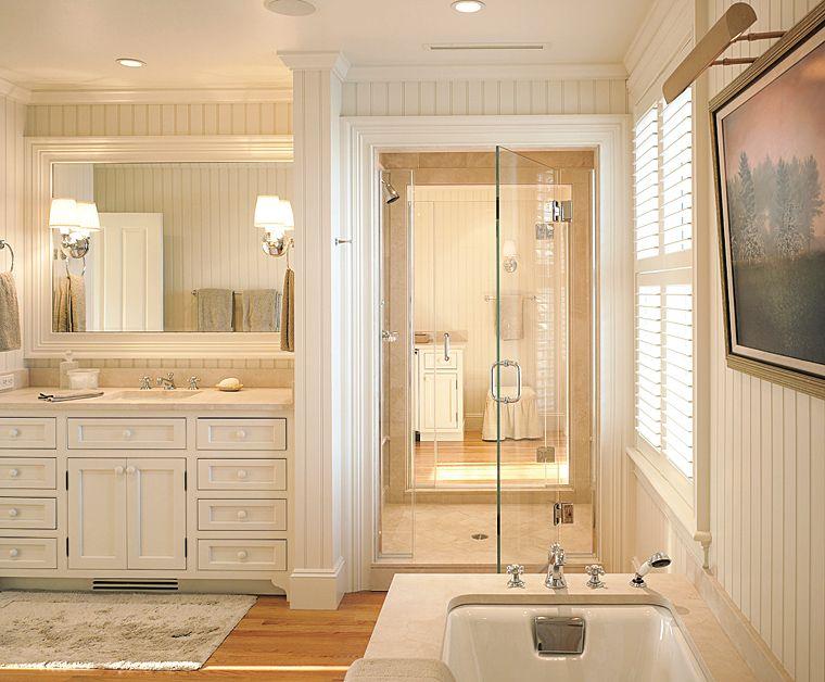 Love this idea of a walk through shower each person has for Shared bathroom ideas
