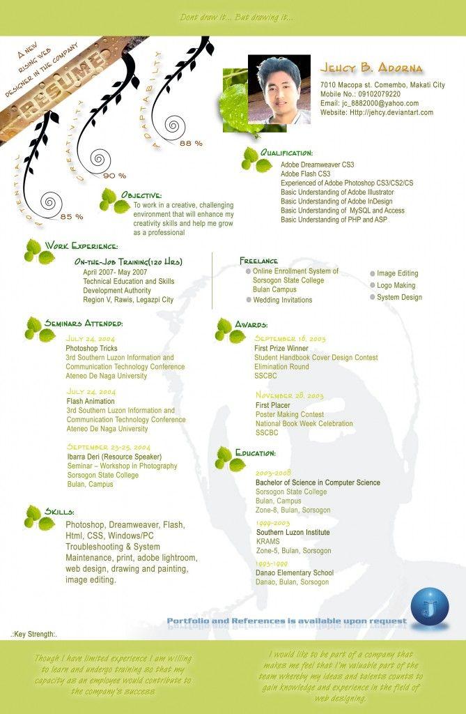 CV 20  Donu0027t draw itu2026 but drawing it Creative resumes Pinterest - flash animator sample resume