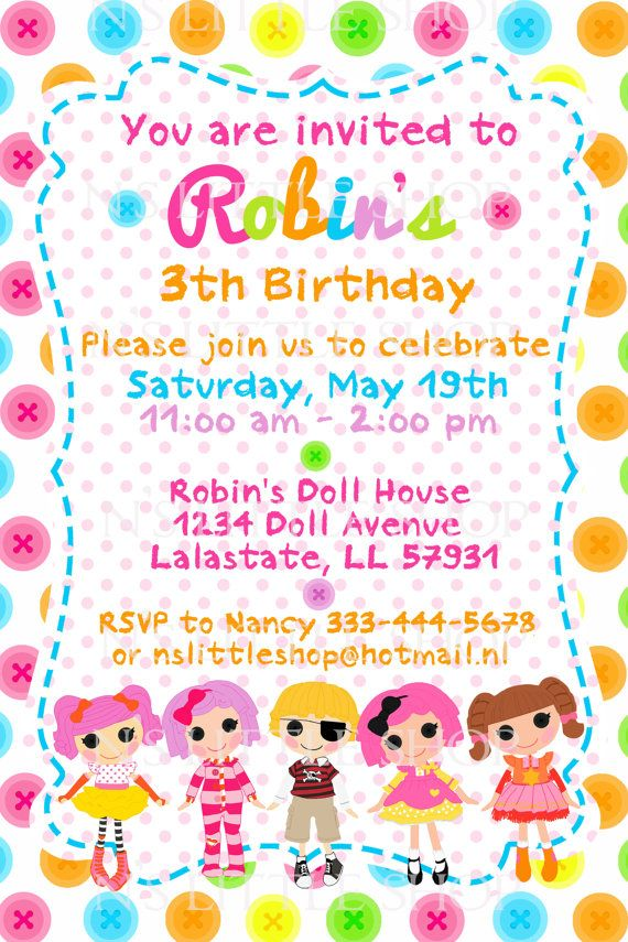 BUTTON DOLL birthday invitation card / customize/ by nslittleshop ...