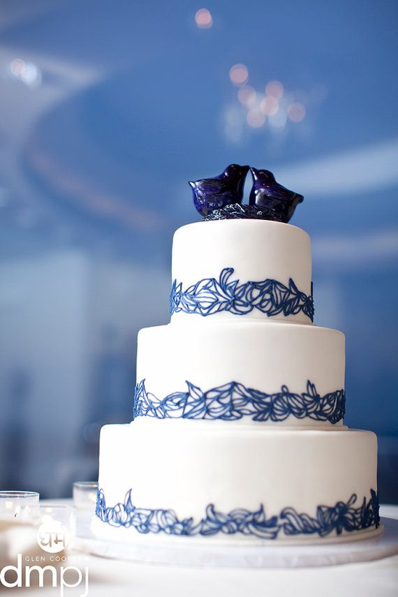 Navy Blue Love Bird Cake Topper by danceswithclay on Etsy, $50.00