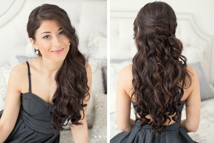 Frisur Halboffene Lange Haare Seitenscheitel Locken Abifrisur