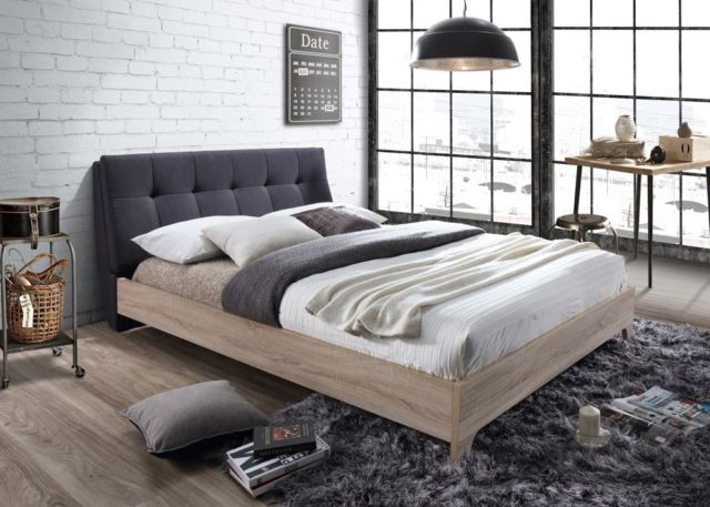 Grey fabric beech mdf nordic modern bed 5ft kingsize for Bett scandinavian design