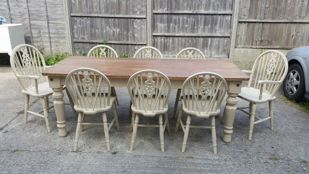 Shabby Chic Rusticfarmhouse Large Solid Oak Dining Table