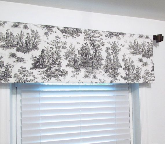 Black White Toile Rod Pocket Curtain Valance By Oldstation