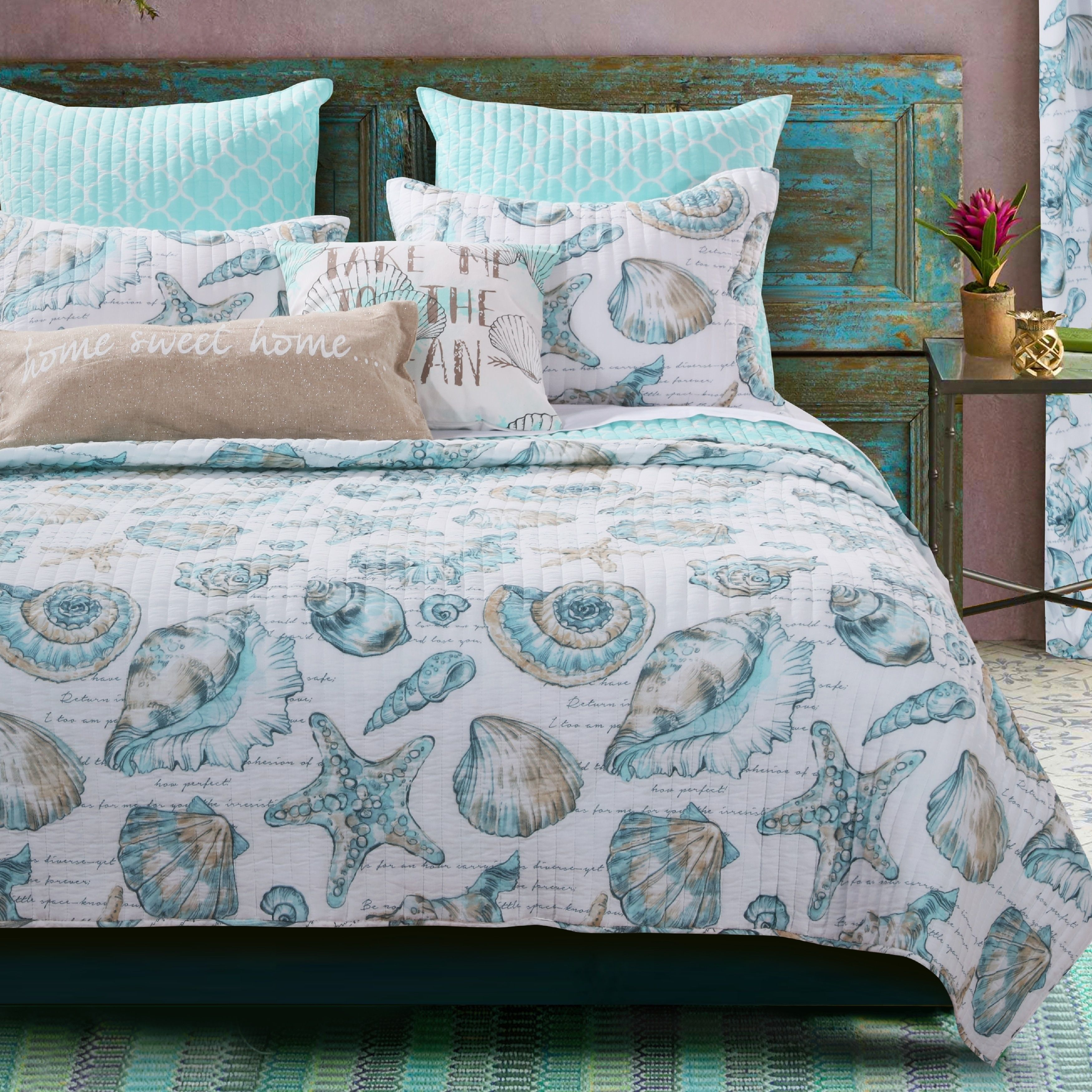 Linen Plus Full//Queen 3pc Over Size Quilted Bedspread Floral Turquoise Grey White Navy Blue