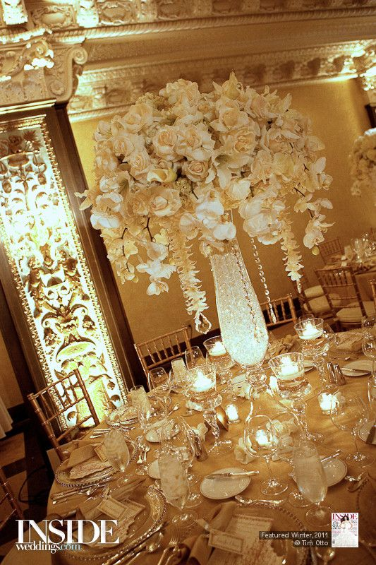 Large Table Centerpieces Of White Roses, Hanging Phalaenopsis Ochids,  Strung Dendrobium Orchids With Crystals Part 22
