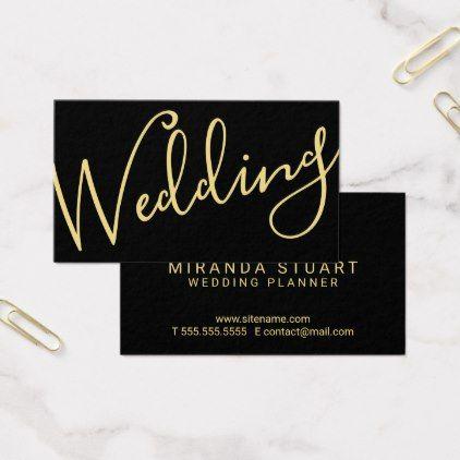 Modern Script BlackGold Wedding Planner Business Card