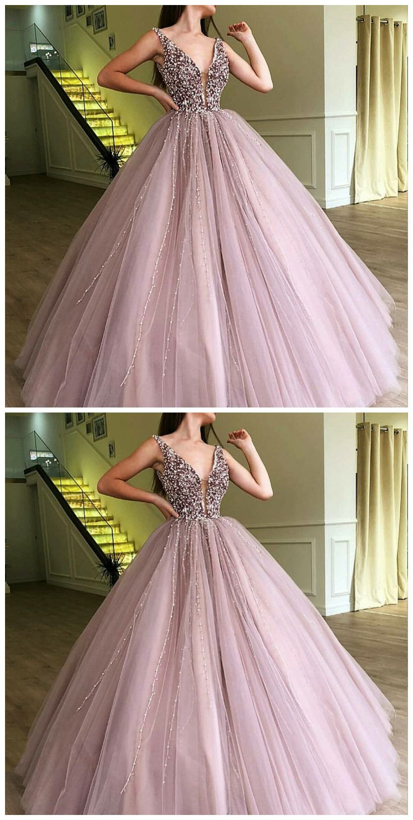 851844c259bf Ball Gown Deep V-Neck Sweep Train Lavender Tulle Prom Dress With ...