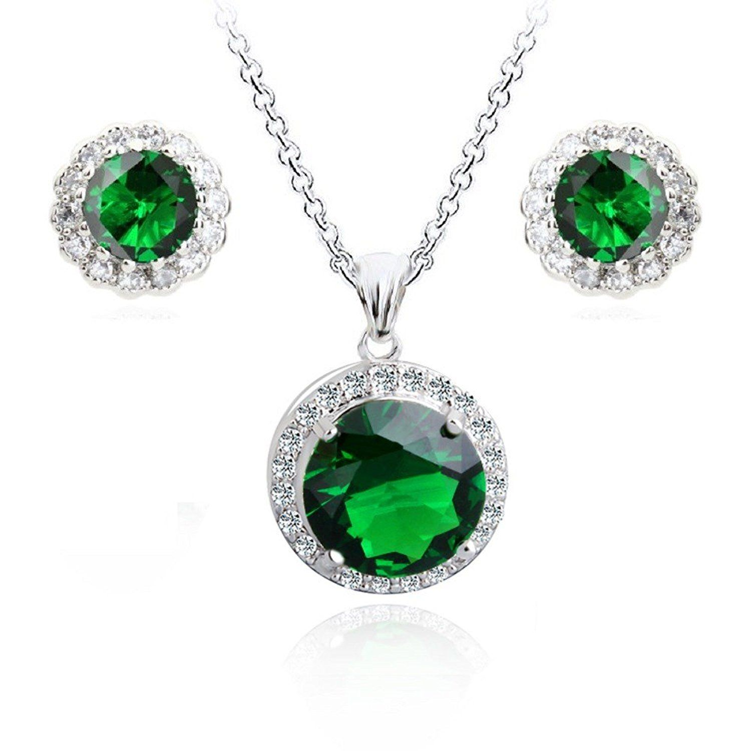 Green simulated emerald zirconia crystals round set pendant necklace