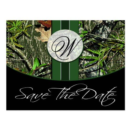 Camo Save The Date Wedding Invitations Hunter Green Monogram Dates Postcard