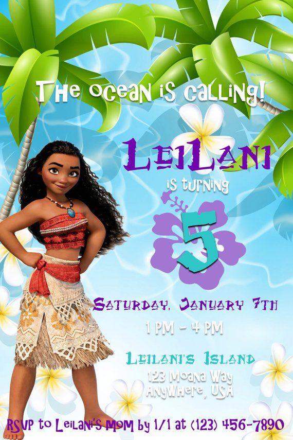 Moana Birthday Invitation Kids Party Invitations Island Themed