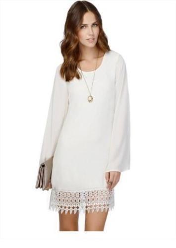 3416179c7a9d Womens-Long-Sleeve-Chiffon-A-line-Lace-Stitching-Trim-Mini-Dress ...