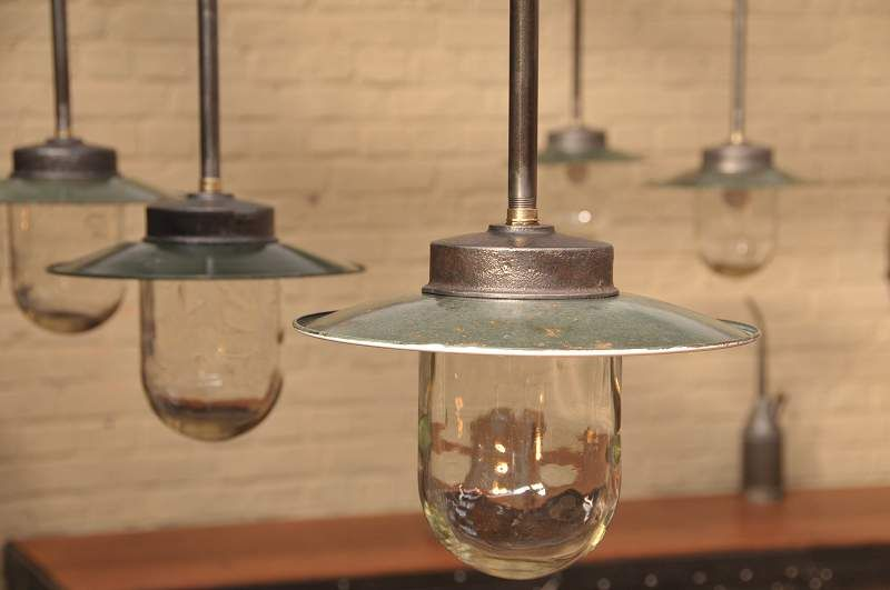 Set Of 14 French Vintage Industrial Pendant Lights With Old Green