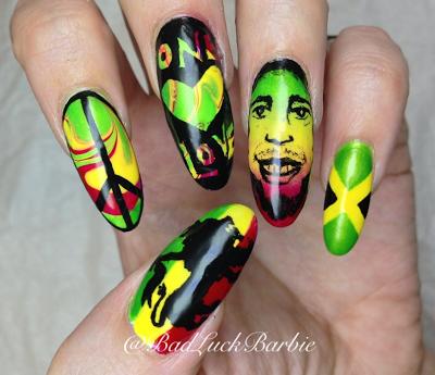 Bob Marley/Jamaica inspired nails! - Bob Marley/Jamaica Inspired Nails! Nails Pinterest Bob