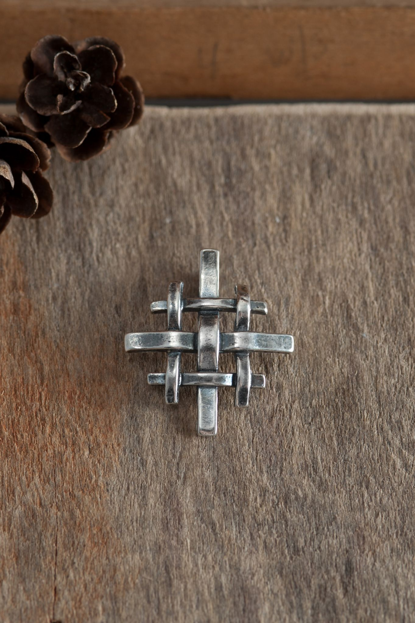 our pendant pin traditional silver woven jerusalem sterling version floating a cross of artistic