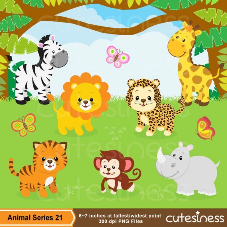 Jungle Clip Art Jungle Digital Papersjungle Clipartjungle Etsy Zoo Clipart Animal Clipart Baby Clip Art