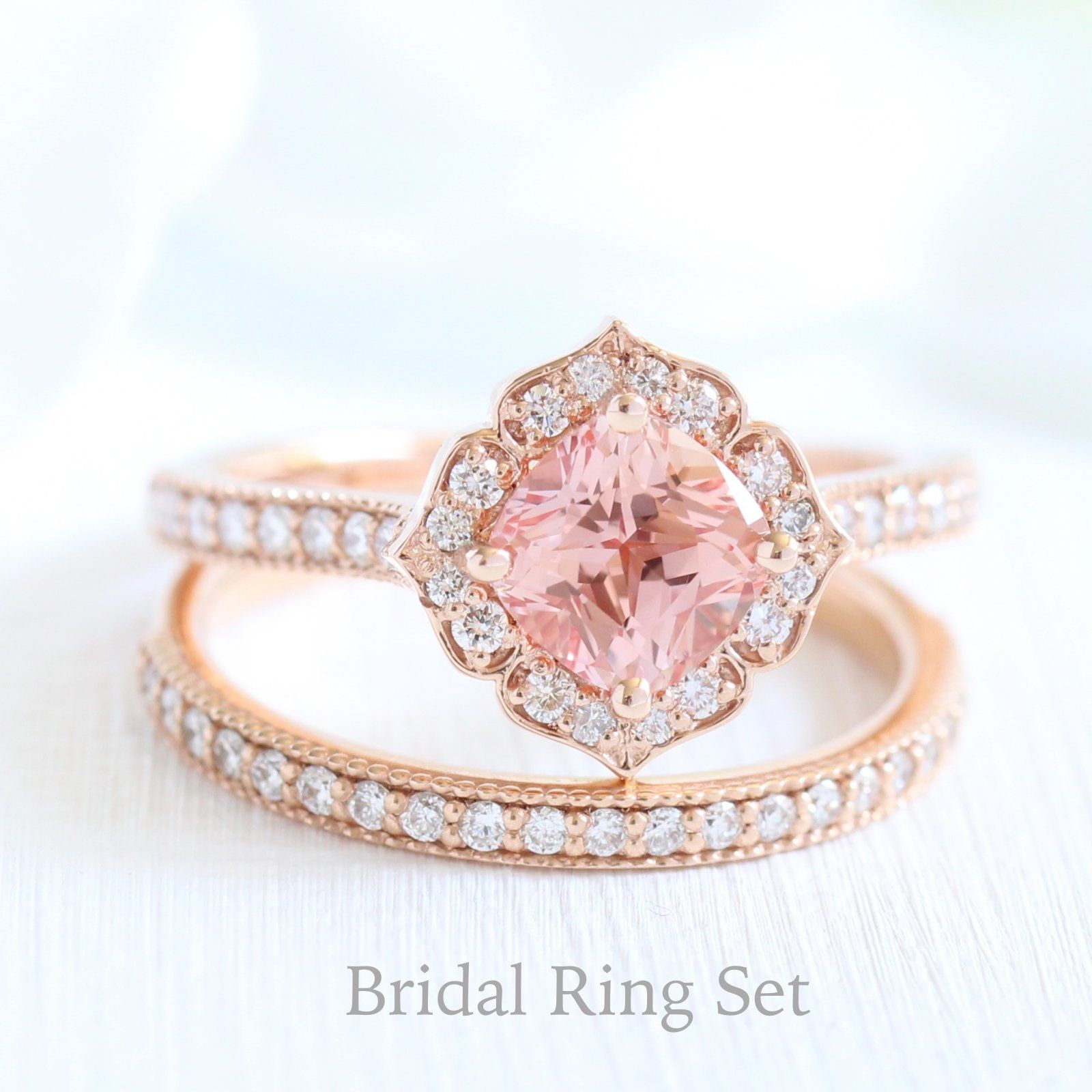 Mini Vintage Floral Ring in Milgrain Band w/ Champagne