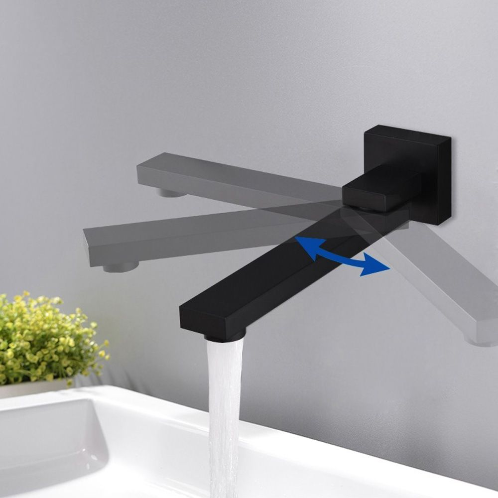 Black Wall Mount Swivel Tub Faucet Water Spout Contemporary