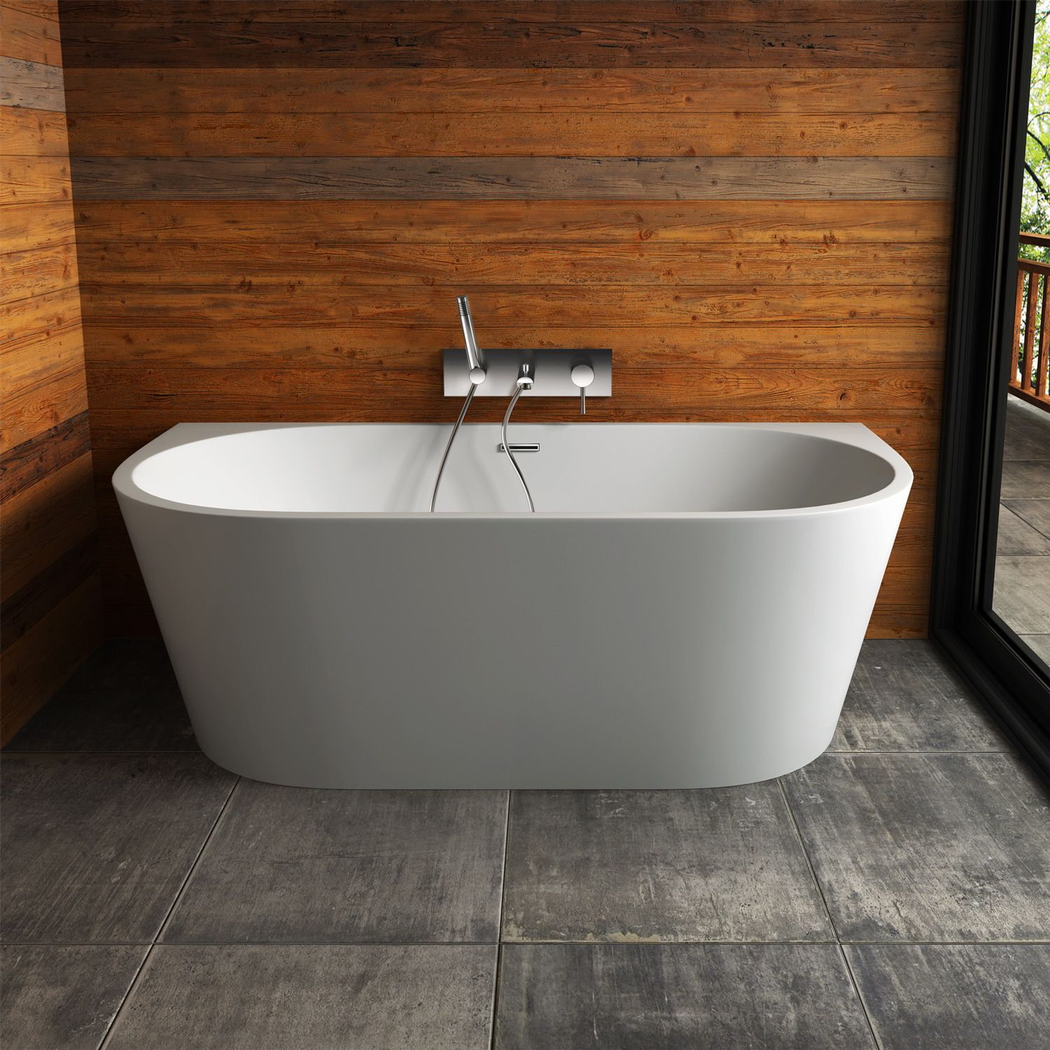 semifree standing bathtub mounts flush to the wall for