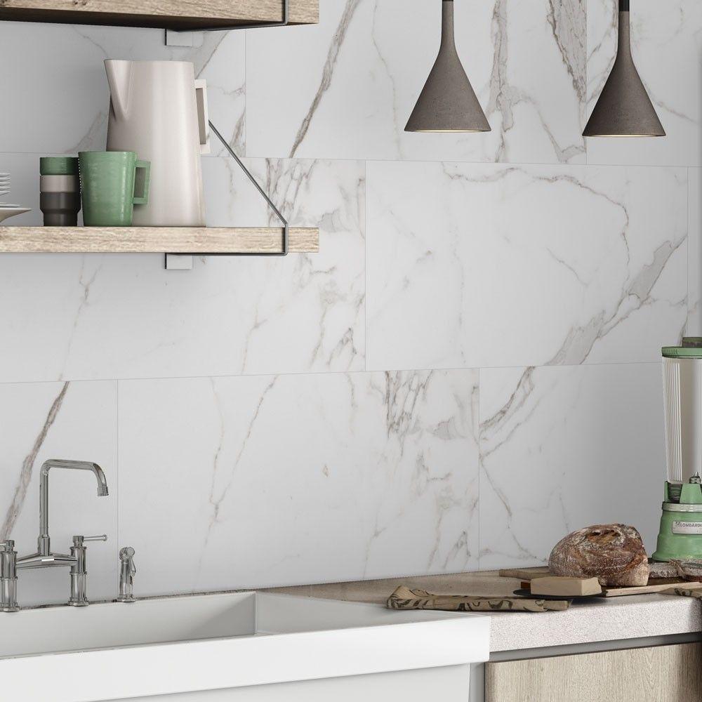 interesting marble backsplash kitchen walls | Matt 60x30 Carrara Marble Effect Tiles in 2020 | Marble ...