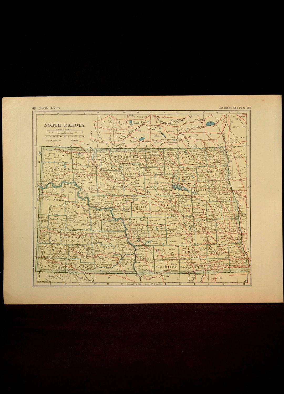 North Dakota Map North Dakota Railroad Antique 1920s   Map Wall ...