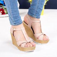 Sandale Piele Deseres Bej Cu Platforma Modlet Shoes Fashion Wedges