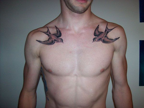 Black Ink Two Flying Birds Tattoo On Man Collar Bone Swallow Tattoo Bird Tattoo Men Swallow Tattoo Design