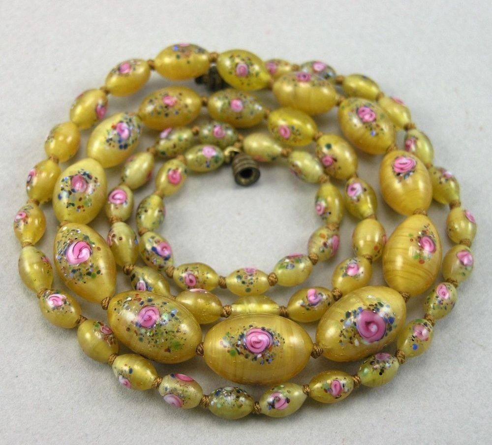 Vtg Deco Long Czech / Czechoslovakian Wedding Cake Style Glass Beads ...