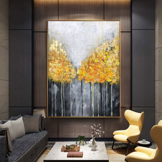 gold leaf original art tree acrylic paintings on canvas on wall art for home id=48847
