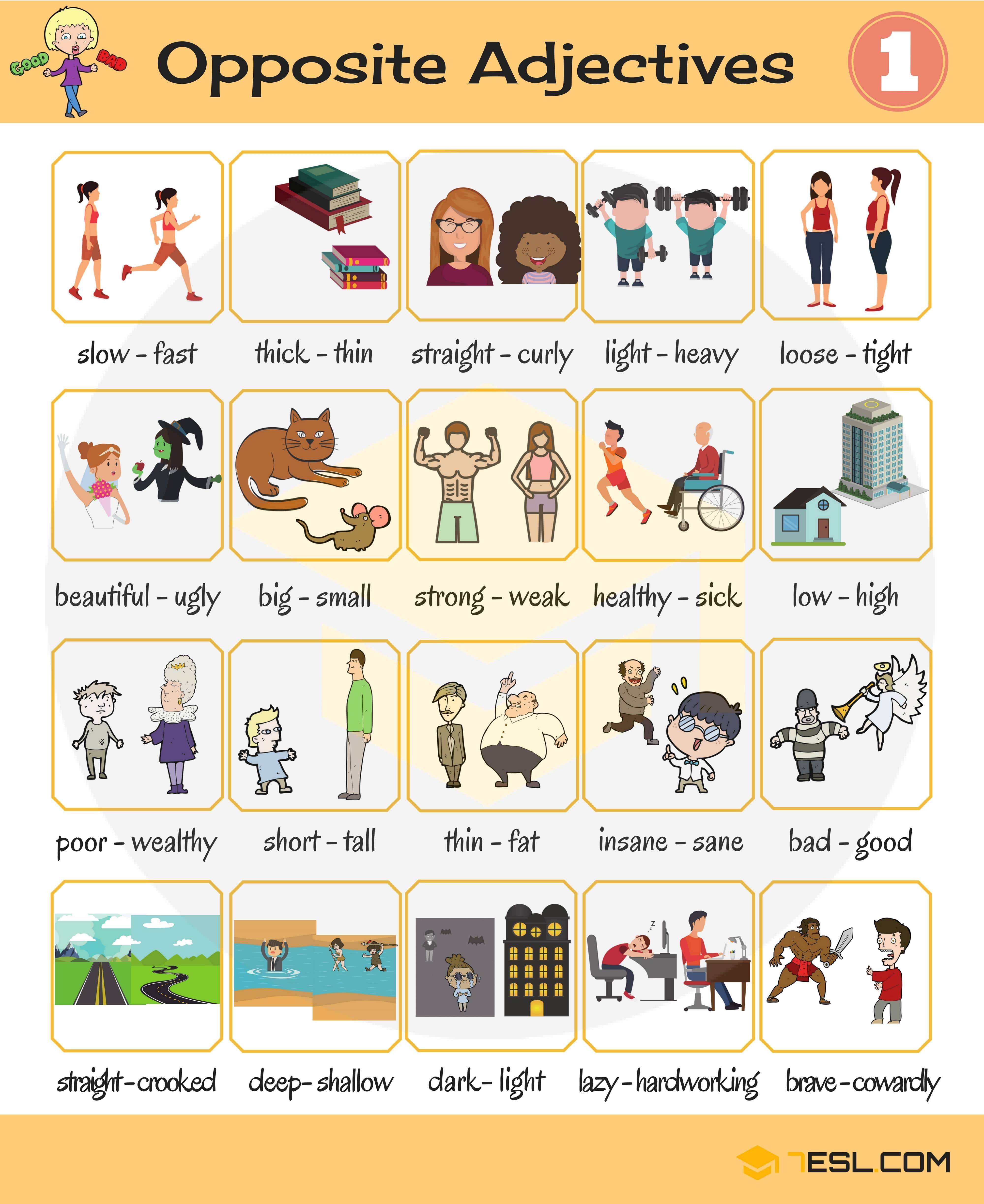 Opposite Adjectives List Of Opposites Of Adjectives With