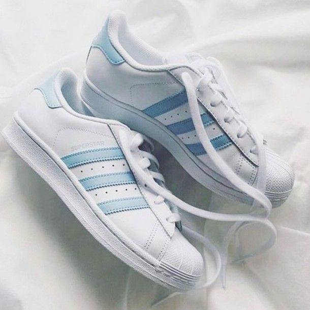 Wheretoget - White Adidas Superstar sneakers with baby blue stripes 3f2c1dc9927