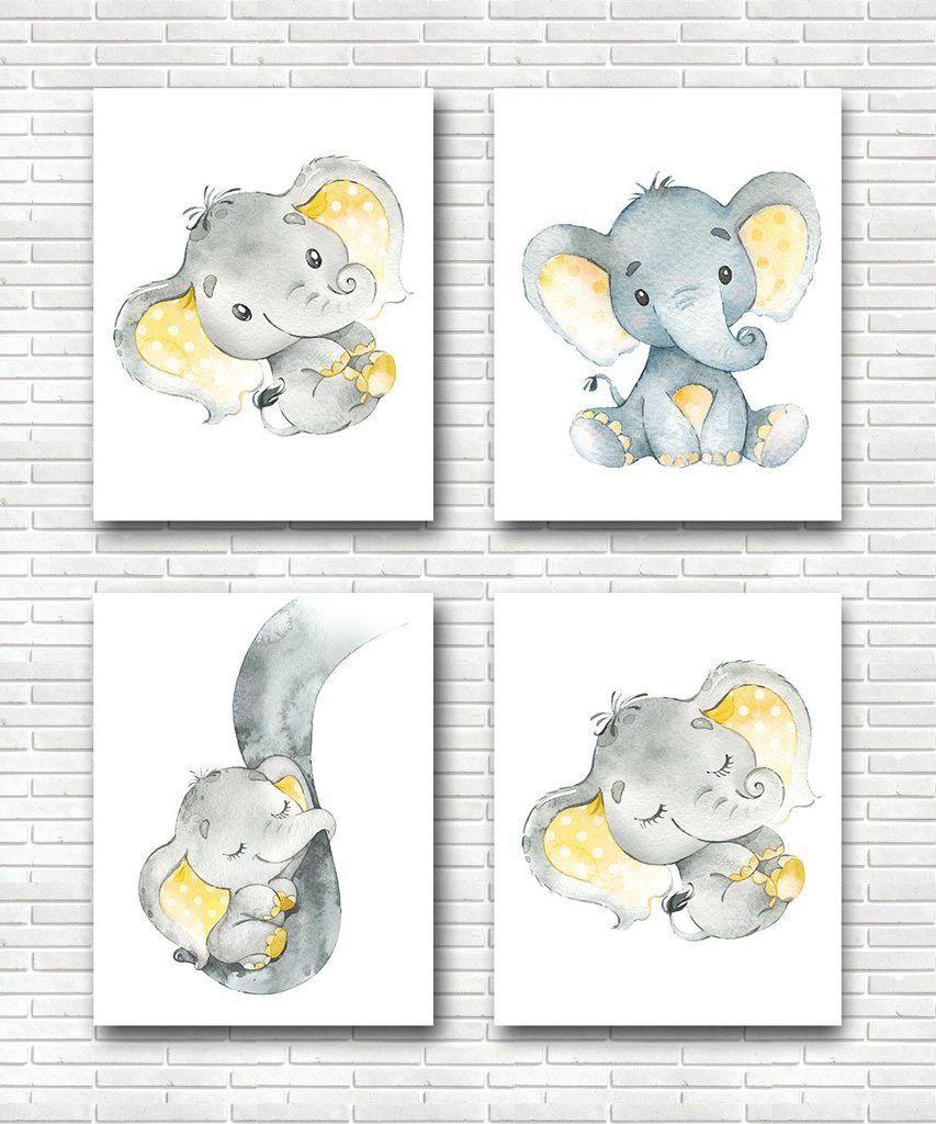 neutral nursery baby girl baby boy nursery ElephantBaby Nursery Art Print set of 4 Gray yellow
