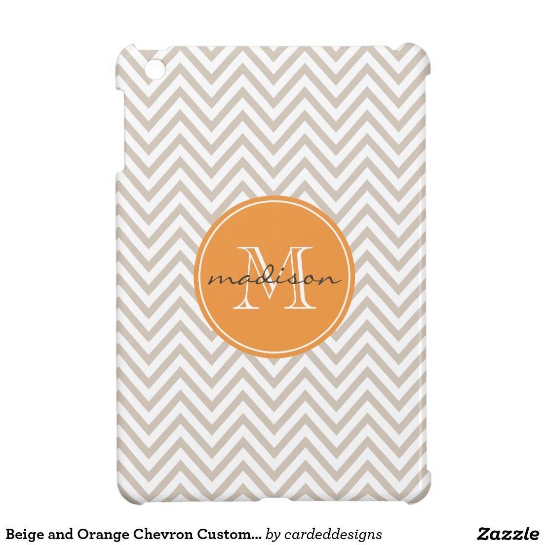Beige and Orange Chevron Custom Monogram Cover For The iPad Mini