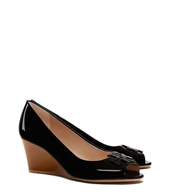 d089f06093b9 Tory Burch Lowell Patent Peep-toe Mid-heel Wedge