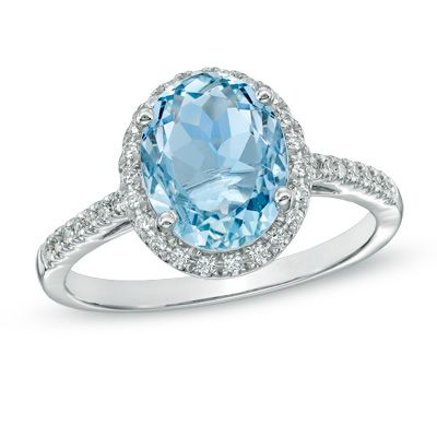 Oval Aquamarine And 1 5 Ct T W Diamond Frame Ring In 10k