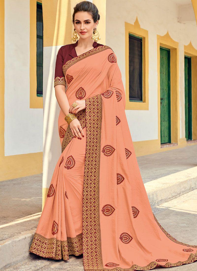 #pink #peach #silk #embroidered #saree | peach silk saree